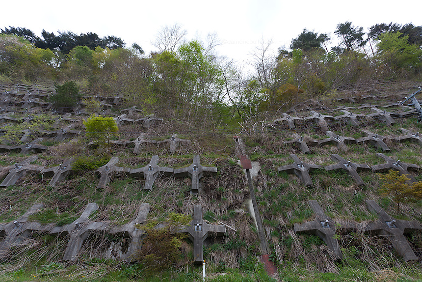 A reinforced hillside in rural Fukushima. near Nahara, Fukushima,  Japan. Tuesday April 30th 2013.