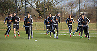 Pictured: Players warm up Thursday 25 February<br />