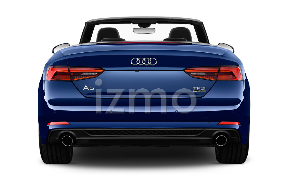 Straight rear view of 2017 Audi A5 Sport 2 Door Convertible Rear View  stock images