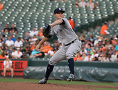 New York Yankees starting pitcher Sonny Gray (55) worked in the first inning against the Baltimore Orioles at Oriole Park at Camden Yards in Baltimore, MD on Wednesday, July 11, 2018.<br /> Credit: Ron Sachs / CNP<br /> (RESTRICTION: NO New York or New Jersey Newspapers or newspapers within a 75 mile radius of New York City)