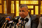 """Head of the legal department of Hamas, Mohammed Al-Jammasi speaks during a press conference before tweet with the hashtag """"Resistance is not terrorism""""  in Gaza city on July 24, 2017. Photo by Mohammed Asad"""
