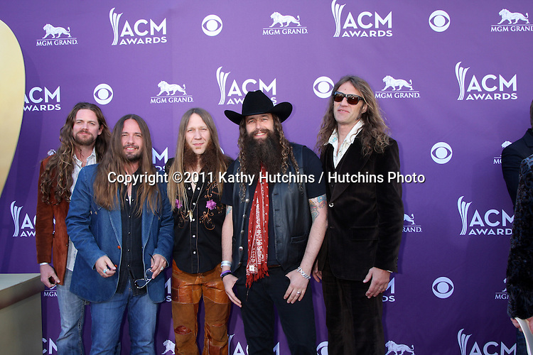 LAS VEGAS - APR 1:  Blackberry Smoke arrives at the 2012 Academy of Country Music Awards at MGM Grand Garden Arena on April 1, 2010 in Las Vegas, NV.