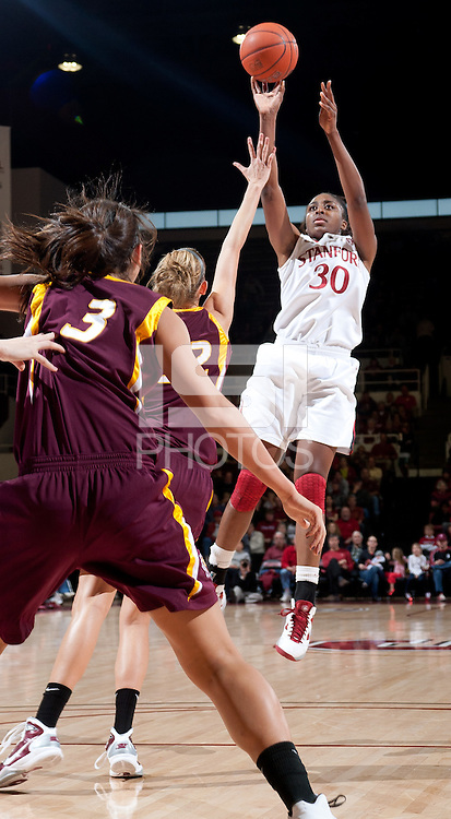 STANFORD, CA - January 8, 2011: Nnemkadi Ogwumike of the Stanford Cardinal women's basketball team during Stanford's game against Arizona State at Maples Pavilion. Stanford won 82-35.