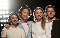 """Daria Golevko, a sinistra e Julia Voitenko, designers di Esme Vie, Arthur Arbesser, secondo da sinistra, e Paul Andrew, vincitori del progetto """"Who is on next?"""", posano sulla passerella durante la rassegna Altaroma a Roma, 8 luglio 2013.<br /> Daria Golevko, left, and Julia Voitenko, designers of Esme Vie, Arthur Arbesser, second from left, and Paul Andrew, winners of """"Who is on next?"""" project  during the Altaroma fashion week in Rome, 8 July 2013.<br /> UPDATE IMAGES PRESS/Virginia Farneti"""