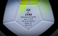 Sandy, Utah - Thursday June 07, 2018: NIKE Ordem game ball, USWNT vs China PR during an international friendly match between the women's national teams of the United States (USA) and China PR (CHN) at Rio Tinto Stadium.