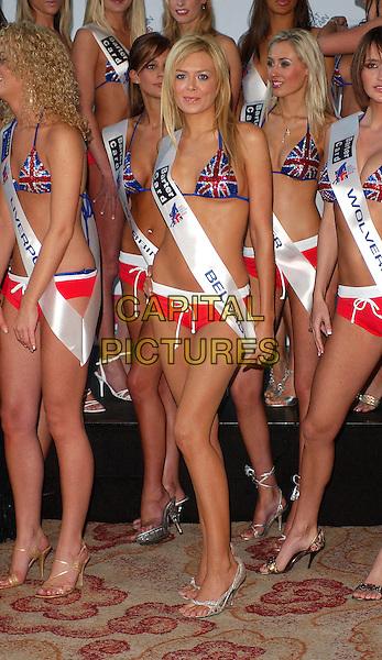 ORLAITH MCALLISTER - MISS BELFAST.Miss Great Britain Photocall at River Bank Plaza, London, UK..February 24th, 2006.Ref: BEL.full length bikini union jack sequins sash.www.capitalpictures.com.sales@capitalpictures.com.© Capital Pictures.