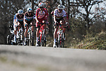 The breakaway including World Champion Mads Pedersen (DEN) Trek-Segafredo during Stage 6 of the 78th edition of Paris-Nice 2020, running 161.5km from Sorgues to Apt, France. 13th March 2020.<br /> Picture: ASO/Fabien Boukla | Cyclefile<br /> All photos usage must carry mandatory copyright credit (© Cyclefile | ASO/Fabien Boukla)