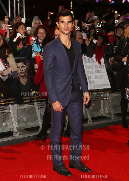 """Taylor Lautner arriving for the """"The Twilight Saga: Breaking Dawn Part 2"""" premiere at the Odeon Leicester Square, London. 14/11/2012 Picture by: Henry Harris / Featureflash"""