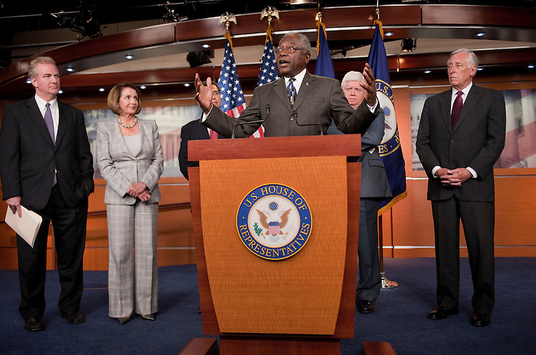 UNITED STATES - SEPTEMBER 06:   From left, Rep. Chris Van Hollen, D-Md., House Minority Leader Nancy Pelosi, D-Calif., Democratic Caucus Vice-Chairman Xavier Becerra, D-Calif., Assistant Leader James Clyburn, D-S.C., Chairman John Larson, D-Conn., and Minority Whip Steny Hoyer, D-Md., conduct a news conference in the Capitol Visitor Center on job creation. (Photo By Tom Williams/Roll Call)