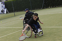 Queens Club, GREAT BRITAIN,   Wheel chair Tennis,  Jon Smith play's through the ground stroke, before the  press Conference to announce the joint initiative between British Paralympic Association and Deloitte  of 'www.Parasport.org.uk' online information service, on Thur's.  03.05.2007. London. [Credit: Peter Spurrier/Intersport Images]