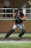 Frederick Keys catcher Daniel Fajardo (16) on defense against the Buies Creek Astros at Jim Perry Stadium on April 28, 2018 in Buies Creek, North Carolina. The Astros defeated the Keys 9-4.  (Brian Westerholt/Four Seam Images)
