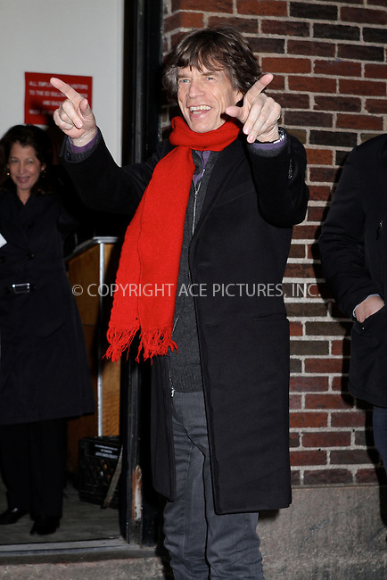 WWW.ACEPIXS.COM....December 11 2012, New York City....Mick Jagger made an appearance at the Late Show with David letterman on December 11 2012 in New York City....By Line: Nancy Rivera/ACE Pictures......ACE Pictures, Inc...tel: 646 769 0430..Email: info@acepixs.com..www.acepixs.com
