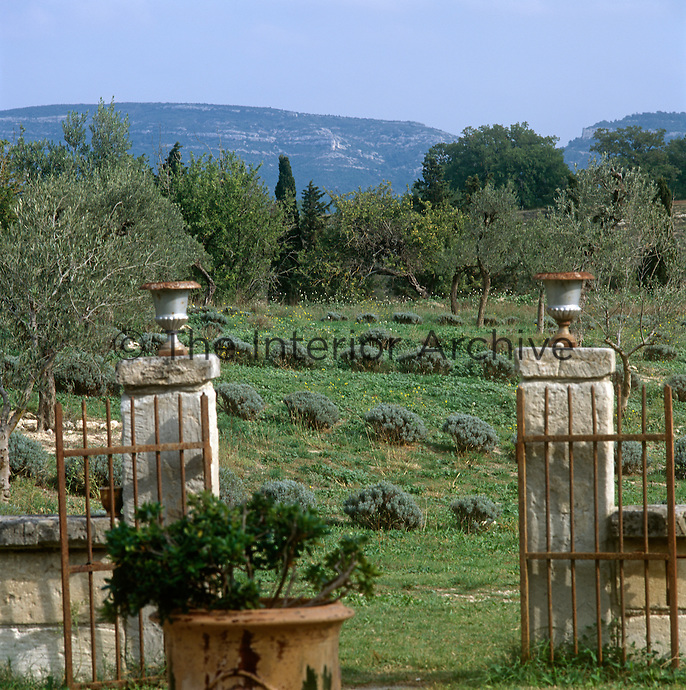 A view through a pair of open iron gates with stone pillars topped with urns to a natural garden and the countryside beyond.
