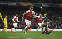 Arsenal's Sokratis Papastathopoulos celebrates scoring his side's third goal <br /> <br /> Photographer Rob Newell/CameraSport<br /> <br /> UEFA Europa League Round of 32 Second Leg - Arsenal v BATE Borisov - Thursday 21st February 2019 - The Emirates - London<br />  <br /> World Copyright © 2018 CameraSport. All rights reserved. 43 Linden Ave. Countesthorpe. Leicester. England. LE8 5PG - Tel: +44 (0) 116 277 4147 - admin@camerasport.com - www.camerasport.com