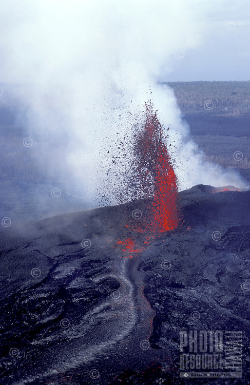 Fountaining eruption from Kilauea's first eruption in 1983 at puu oo vent, Hawaii volcanoes national park, Big island