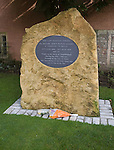 Memorial plaque to Harry Patch, the last fighting Tommy from the First World war who died aged 111 in 2009, Wells, Somerset, England