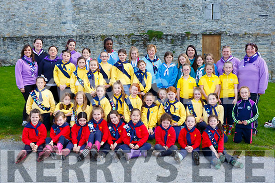 Maura Fitzgerald standing centre celebrated her 50th year service with the Killarney District Girl Guides in Ross Castle on Sunday