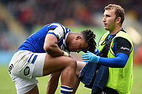 Anthony Watson of Bath Rugby is treated for a rib injury by Byron Field. Gallagher Premiership match, between Leicester Tigers and Bath Rugby on May 18, 2019 at Welford Road in Leicester, England. Photo by: Patrick Khachfe / Onside Images