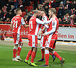 08.03.2019, Stadion an der Wuhlheide, Berlin, GER, 2.FBL, 1.FC UNION BERLIN  VS. FC Ingolstadt 04, <br /> DFL  regulations prohibit any use of photographs as image sequences and/or quasi-video<br /> im Bild 2; 0 durch Akaki Gogia (1.FC Union Berlin #11)<br /> , Sebastian Andersson (1.FC Union Berlin #10), Grischa Proemel (1.FC Union Berlin #21)<br /> <br />      <br /> Foto &copy; nordphoto / Engler