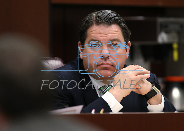 Nevada Senate Majority Leader Michael Roberson, R-Henderon, works in committee at the Legislative Building, in Carson City, Nev., on Thursday, Feb. 19, 2015. <br /> Photo by Cathleen Allison