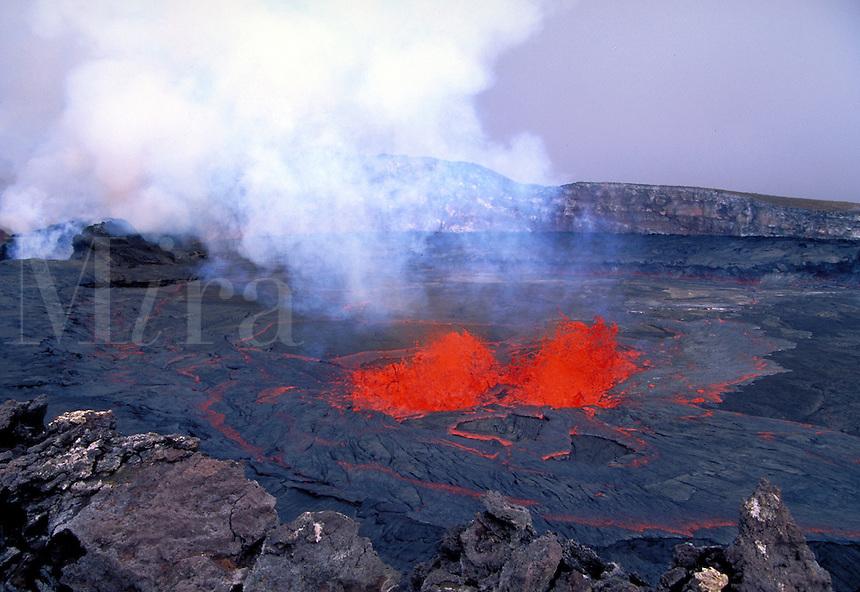 Kilauea Volcano - splatter cone and lava lake inside of Pu'u o'o vent. Hawaii, Volcanoes National Park.