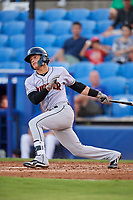 Jupiter Hammerheads shortstop Bryson Brigman (1) follows through on a swing during a game against the Dunedin Blue Jays on August 14, 2018 at Dunedin Stadium in Dunedin, Florida.  Jupiter defeated Dunedin 5-4 in 10 innings.  (Mike Janes/Four Seam Images)