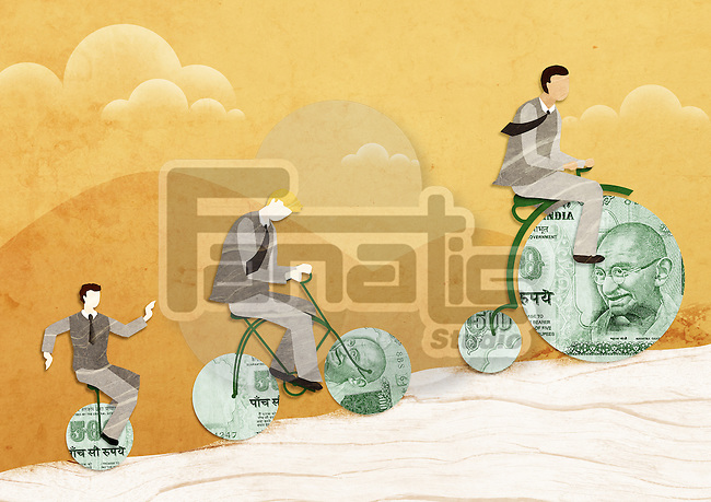 Three businessmen riding money bikes
