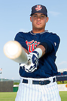 Oswaldo Arcia #24 of the Elizabethton Twins at Joe O'Brien Field August 14, 2010, in Elizabethton, Tennessee.  Photo by Brian Westerholt / Four Seam Images