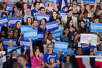 Supporters holding signs at Hillary Clinton and Al Gore Miami Rally, October 11, 2016