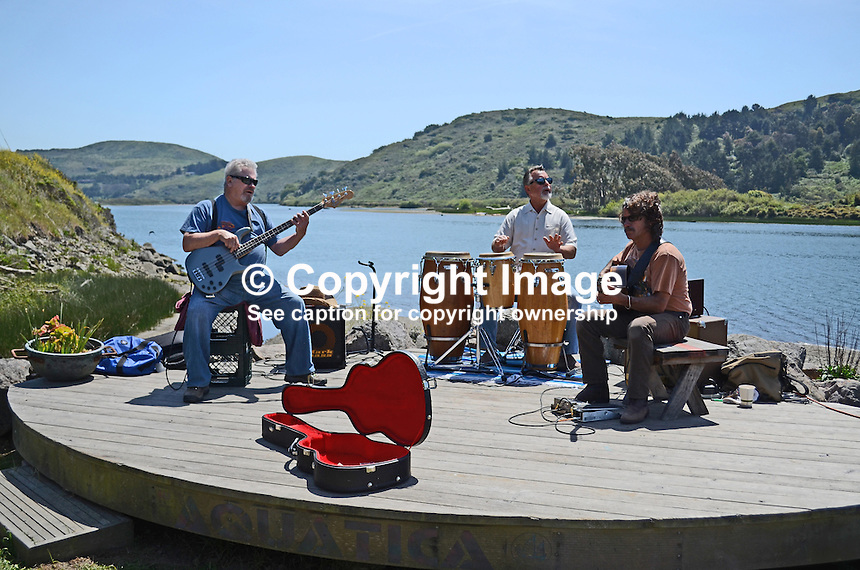 Musicians, guitarists, drummer, have a jam session on bandstand on the r bank of the Russian River, at Jenner, California, USA. 20130429034<br /> <br /> Copyright Image from Victor Patterson, 54 Dorchester Park, Belfast, UK, BT9 6RJ<br /> <br /> Tel: +44 28 9066 1296<br /> Mob: +44 7802 353836<br /> Voicemail +44 20 8816 7153<br /> Skype: victorpattersonbelfast<br /> Email: victorpatterson@me.com<br /> Email: victorpatterson@ireland.com (back-up)<br /> <br /> IMPORTANT: If you wish to use this image or any other of my images please go to www.victorpatterson.com and click on the Terms & Conditions. Then contact me by email or phone with the reference number(s) of the image(s) concerned.