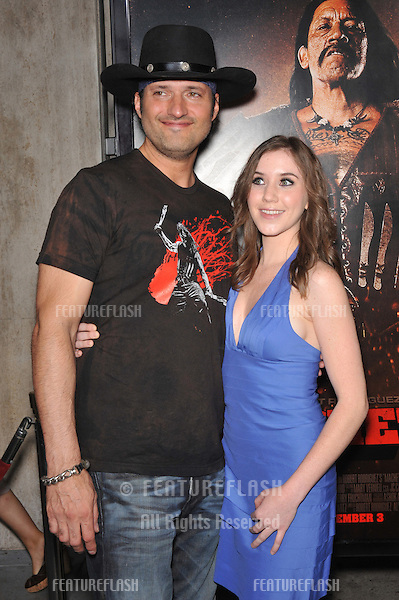 """Director Robert Rodriguez & Marci Madison at the Los Angeles premiere of their new movie """"Machete"""" at The Orpheum Theatre..August 25, 2010  Los Angeles, CA.Picture: Paul Smith / Featureflash"""