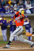 Auburn Tigers second baseman Jordan Ebert #23 follows through on his swing against the LSU Tigers in the NCAA baseball game on March 23, 2013 at Alex Box Stadium in Baton Rouge, Louisiana. LSU defeated Auburn 5-1. (Andrew Woolley/Four Seam Images).