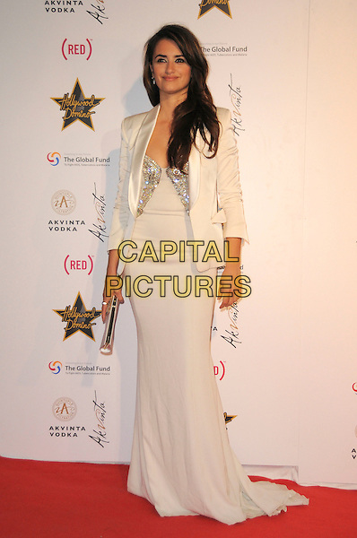 PENELOPE CRUZ.The Akvinta Presents A Night of Hollywood Domino Party at The House at Cannes during the 62nd International Cannes Film Festival, Cannes, France..May 18th, 2009 .full length white cream long maxi dress jacket clutch bag silver .CAP/CAS.©Bob Cass/Capital Pictures.