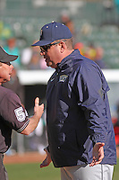 University of Pittsburgh Panthers head coach Joe Jordano #30 arguing a call during a game against the Coastal Carolina University Chanticleers at Ticketreturn.com Field at Pelicans Ballpark on February 16, 2014 in Myrtle Beach, South Carolina. Pittsburgh defeated Coastal Carolina by the score of 10-6. (Robert Gurganus/Four Seam Images)