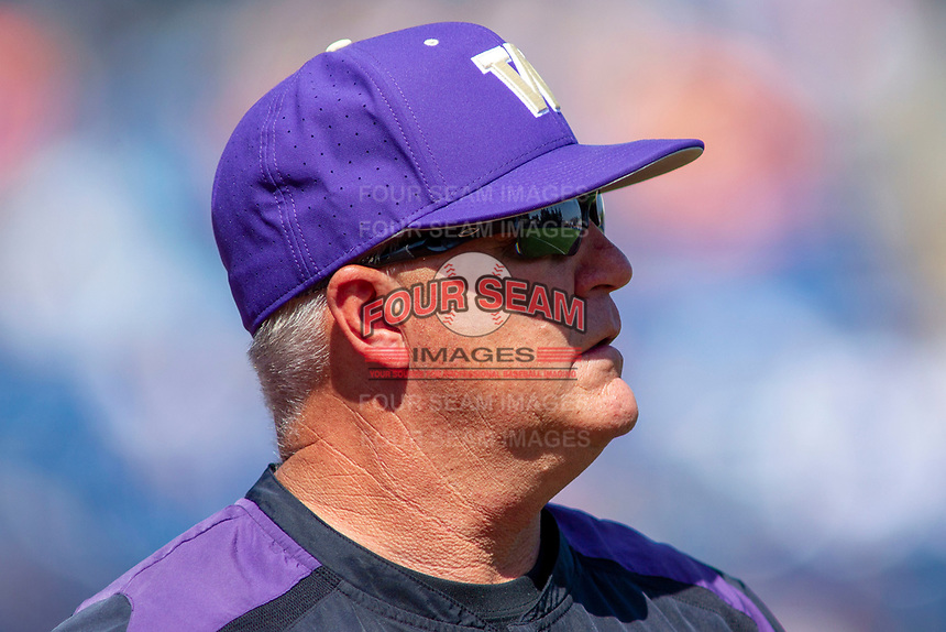 University of Washington Huskies head coach Lindsay Meggs during the game against the Cal State Fullerton Titans at Goodwin Field on June 08, 2018 in Fullerton, California. The University of Washington Huskies defeated the Cal State Fullerton Titans 8-5. (Donn Parris/Four Seam Images)