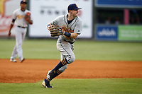 Montgomery Biscuits third baseman Jake Cronenworth (3) fields a ball and prepares to throw to first base in the game against the Chattanooga Lookouts on May 25, 2018 at AT&T Field in Chattanooga, Tennessee. (Andy Mitchell/Four Seam Images)