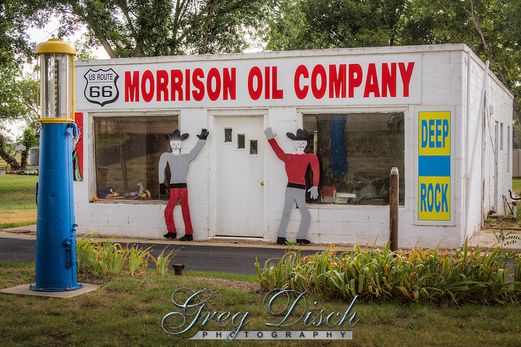 Morrison Oil Company, a restored station along route 66 in Sayer Oklahoma.
