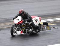 May 20, 2017; Topeka, KS, USA; NHRA top fuel nitro Harley Davidson rider Kevin Boyer during qualifying for the Heartland Nationals at Heartland Park Topeka. Mandatory Credit: Mark J. Rebilas-USA TODAY Sports