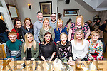 Enjoying the Byrne's Spar Monavalley staff night out at Bella Bia's on Friday were front l-r Dylan Burke, Emma O'Connor , Ella Torba,  Anna Kowalik, Deirdre Fitzgibbon, Catherine Griffin, Back l-r Emily Quirke, Rachel Murphy, Louis Byrne, Colette O'Sullivan, Damien Trazop, Joan Bowler and Julianne Fitzgerald