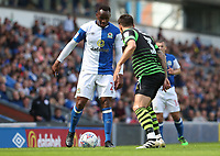 Blackburn Rovers' Ryan Nyambe being blocked by Doncaster Rovers' Danny Andrew<br /> <br /> Photographer Rachel Holborn/CameraSport<br /> <br /> The EFL Sky Bet League One - Blackburn Rovers v Doncaster Rovers - Saturday August 12th 2017 - Ewood Park - Blackburn<br /> <br /> World Copyright &copy; 2017 CameraSport. All rights reserved. 43 Linden Ave. Countesthorpe. Leicester. England. LE8 5PG - Tel: +44 (0) 116 277 4147 - admin@camerasport.com - www.camerasport.com