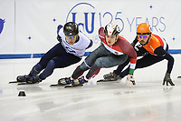 SHORT TRACK: TORINO: 14-01-2017, Palavela, ISU European Short Track Speed Skating Championships, Final A 1500m Men, Vladislav Bykanov (ISR), Viktor Knoch (HUN), Sjinkie Knegt (NED), ©photo Martin de Jong