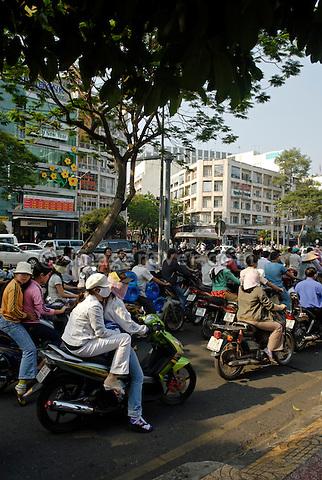 Asia, Vietnam, Ho Chi Minh City (Saigon). Traffic on Le Loi Boulevard (District 1).