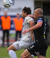 Darren White (Auckland) tries to hold off Bill Robertson during the Oceania Football Championship final (second leg) football match between Team Wellington and Auckland City FC at David Farrington Park in Wellington, New Zealand on Sunday, 7 May 2017. Photo: Dave Lintott / lintottphoto.co.nz