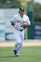 Lynchburg Hillcats right fielder Clint Frazier (20) jogs off the field between innings of the Carolina League game against the Frederick Keys at Calvin Falwell Field at Lynchburg City Stadium on May 14, 2015 in Lynchburg, Virginia.  The Hillcats defeated the Keys 6-3.  (Brian Westerholt/Four Seam Images)