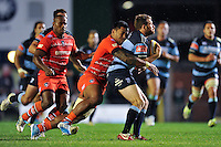 Manu Tuilagi smashes into Geraint Walsh. Pre-season friendly match, between Leicester Tigers and Cardiff Blues on August 29, 2014 at Welford Road in Leicester, England. Photo by: Patrick Khachfe / JMP