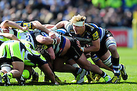 David Denton of Bath Rugby in action at a scrum. Aviva Premiership match, between Bath Rugby and Sale Sharks on April 23, 2016 at the Recreation Ground in Bath, England. Photo by: Patrick Khachfe / Onside Images