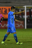 TUNJA - COLOMBIA -18 -07-2016: Harold Rivera, jugador de Jaguares FC, celebra el gol anotado a Boyaca Chico FC, durante partido Boyaca Chico FC y Jaguares FC, de la fecha 4 de la Liga Aguila II-2016, jugado en el estadio La Independencia de la ciudad de Tunja. / Harold Rivera, player of Jaguares FC, celebrates a goal scored to Boyaca Chico FC during a match Boyaca Chico FC and Jaguares FC, for the date 4 of the Liga Aguila II-2016 at the La Independencia  stadium in Tunja city, Photo: VizzorImage  / Cesar Melgarejo / Cont.