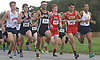 Isaiah Claiborne of Northport, far right, moves to the front of the pack near the start of the Suffolk County varsity boys cross country Division Championships at Sunken Meadow State Park on Thursday, Oct. 26, 2017. He went on to win the 5K race.