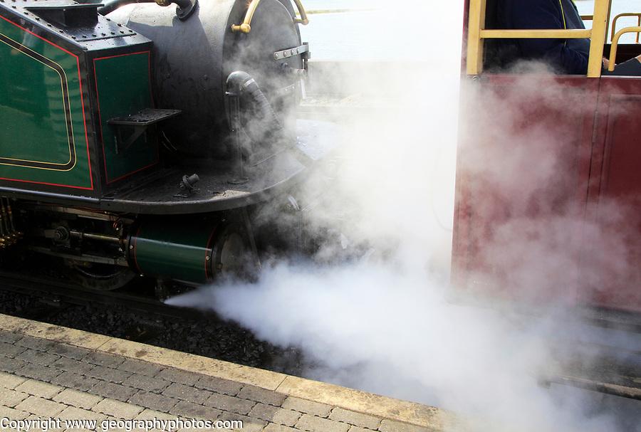 Steam train on the Ffestiniog railway, Porthmadog, Gwynedd, north west Wales, UK