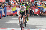 Nenjamin King (USA) Team Dimension Data and Hector Saez Benito (ESP) Euskadi-Murias cross the finish line at the end of Stage 19 of the La Vuelta 2018, running 154.4km from Lleida to Andorra, Naturlandia, Andorra. 14th September 2018.                   <br /> Picture: Colin Flockton | Cyclefile<br /> <br /> <br /> All photos usage must carry mandatory copyright credit (© Cyclefile | Colin Flockton)